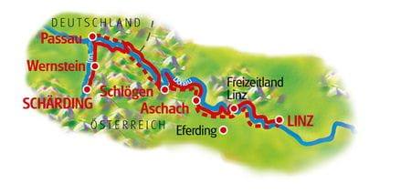 Danube Cycle Path for Family, Schärding - Linz, Map