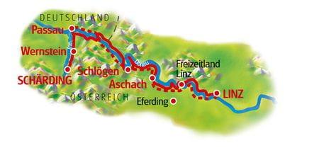 Donau-Radweg fuer Familien, Schaerding - Linz, Karte