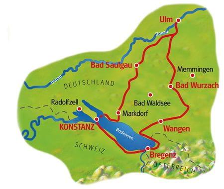 Karte Bodensee & Donau