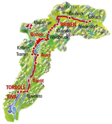 Karte Dolomiten - Gardasee