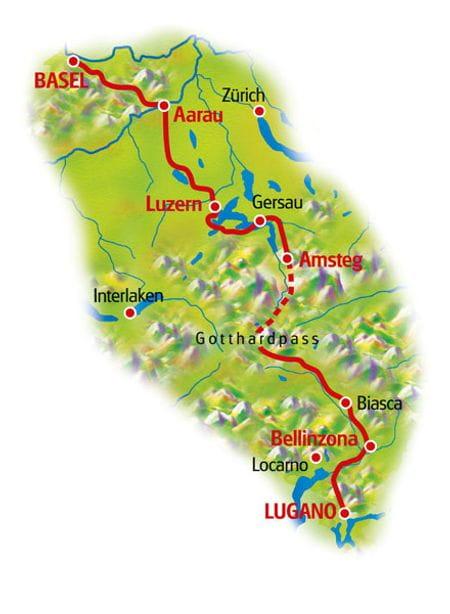 Karte Nord-Südroute