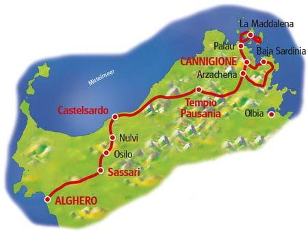 Karte Sardinien Nordroute