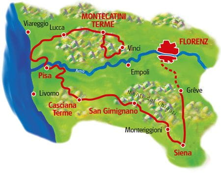 Map Tuscany Loop tour