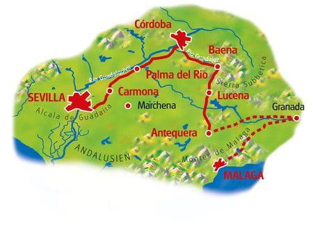 Karte Andalusien