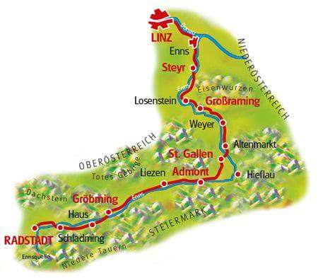 Map Enns Cycle Path