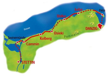 Karte Stettin - Danzig
