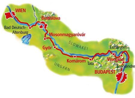 Karte Donau-Radweg Wien - Budapest