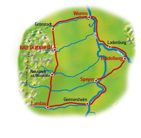 Radreise Rhein & Reben mit Charme - Karte
