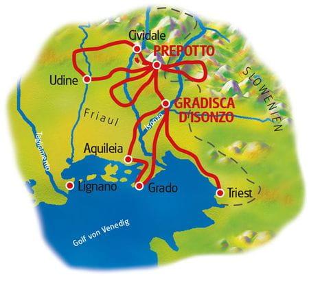 Karte Friaul Sternfahrt