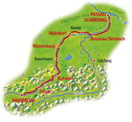 Cycle tour Innsbruck - Passau, Map