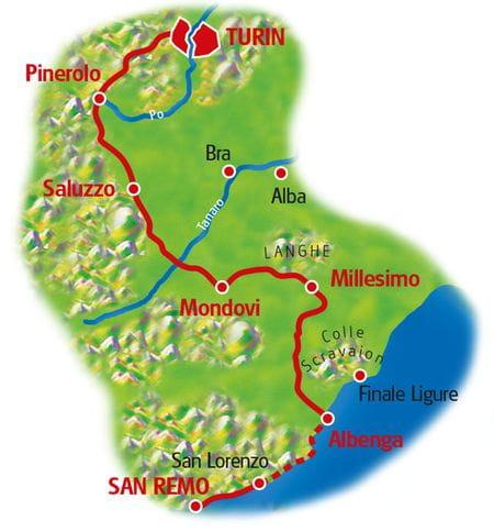 Map Turin - San Remo