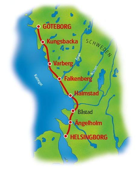 Karte Schwedens Westküste