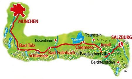 Karte München - Salzburg