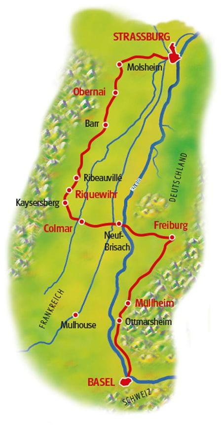 Map Rhine Cycle Parh II Basel - Strasbourg