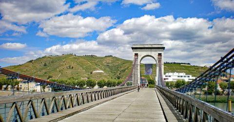 Brücke und Weinberge