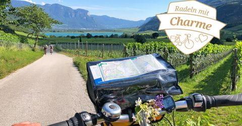 Fahrrad mit Blick auf Kalterer See