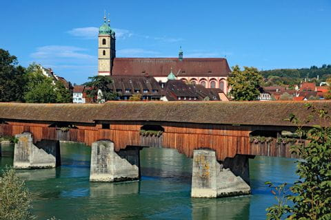 Covered bridge in Bad Säckingen in the Southern Black Forest