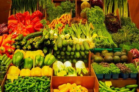 Fresh vegetables in the Mercat de l'Olivar