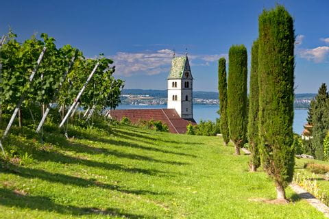 View to the church tower of Meersburg at Lake Constance