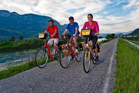 Cyclists biking along the river Adige