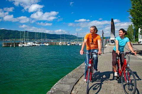 Cyclists at the bank of Lake Constance