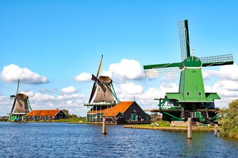 Colourful windmills