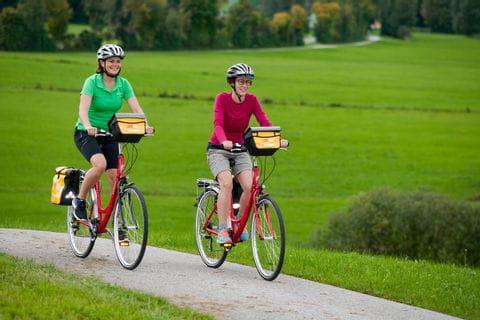 zwei Radler am Radweg im Grünen