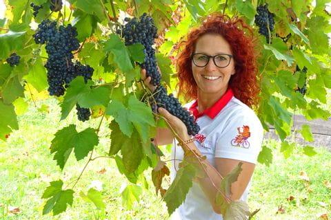 Eurobike Mitarbeiterin im Weingarten