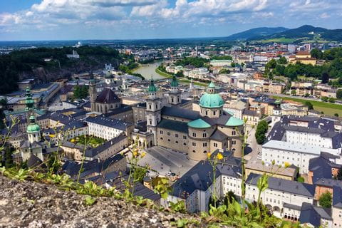 View over the city of Salzburg and the fortress Hohensalzburg