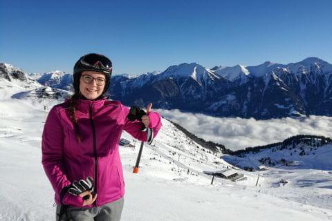 Sarah beim Schifahren