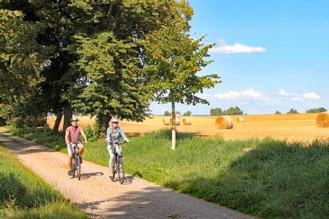 Radweg entlang von abgeernteten Feldern