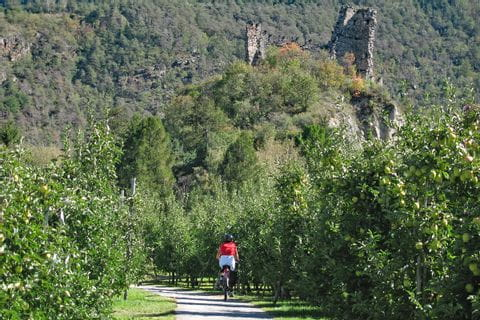 Cyclist in front of a ruin