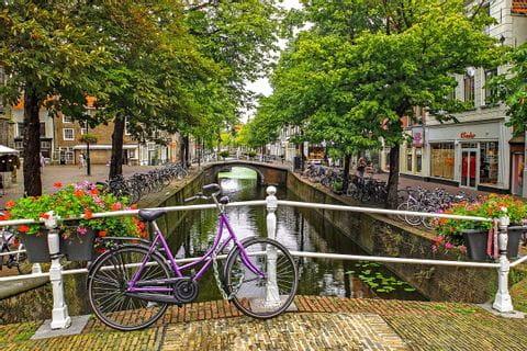 Bike on bridge in Amsterdam