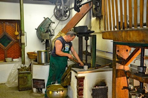Man works in oil mill