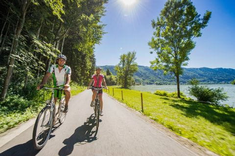 Cyclists along the lake shore