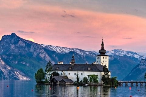 View over Schloss Orth at Lake Traunsee