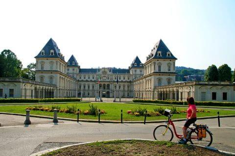 Castle Stupinigi with cyclist