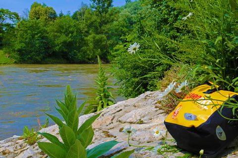 Eurobike pannier on the riverside