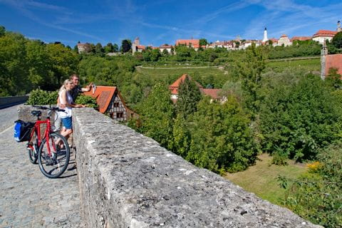 Cyclists in Rothenburg ob der Tauber