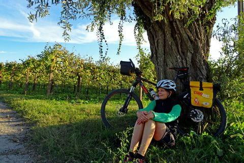 Claudia macht eine Pause im Schatten des Baumes