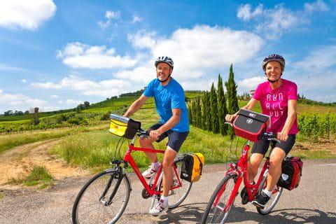 Radfahrer auf dem Weg nach Stabbia