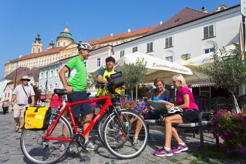 Cyclists enjoy the break in Melk