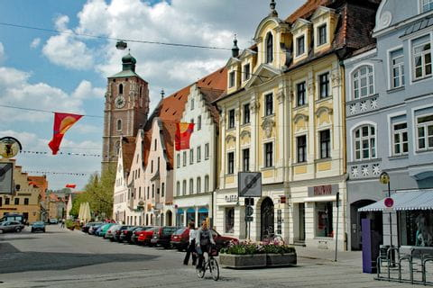 Cyclist in the centre of Ingolstadt