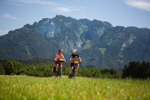 Radfahrer vor Bergpanorama auf der Sternfahrt Alpe Adria