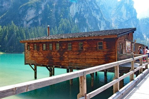 Wooden hut in the lake