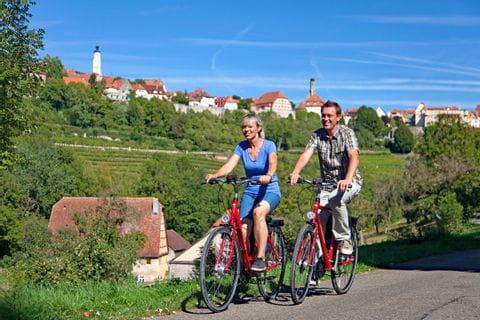 Cyclists along the bike paths