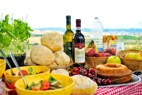 Picnic with wine in a beautiful landscape