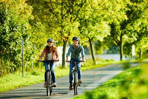 Radfahrer radeln entland des Moselradweges