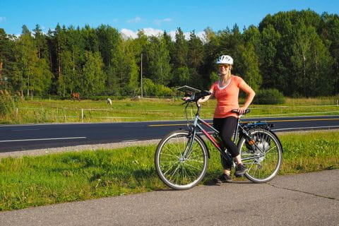 Cyclist on the roadside