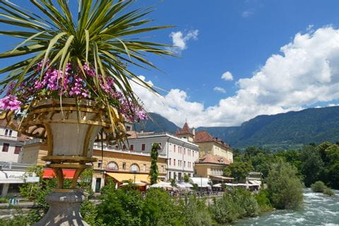 Houses in Merano along the river Adige